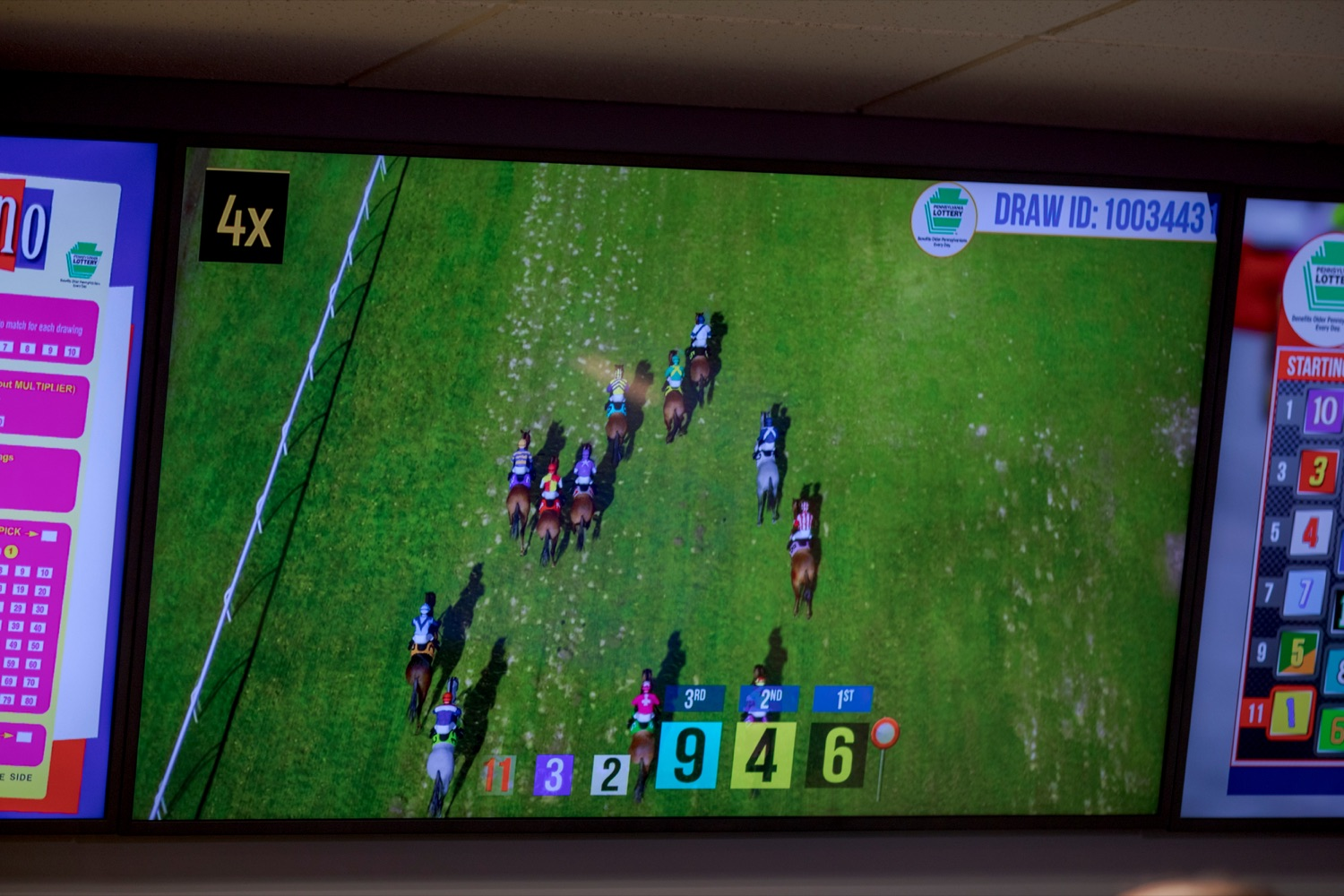 """<a href=""""http://filesource.abacast.com/commonwealthofpa/photo/17265_Lottery_Derby_Cash_NK_002.JPG"""" target=""""_blank"""">⇣Download Photo<br></a>The Pennsylvania Lottery today launched Derby Cash Horse Racing, a new and highly anticipated virtual horse racing game that will have players on the edge of their seats. Every five minutes, players have the chance to win up to $800,000 on a $1 play. Purchases can be made anywhere Lottery games are sold and races can be watched at nearly 2,000 of the Lotterys retailers, mainly at bars and restaurants."""