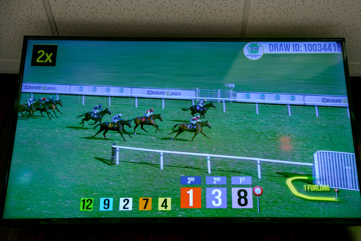 """<a href=""""http://filesource.abacast.com/commonwealthofpa/photo/17265_Lottery_Derby_Cash_NK_005.JPG"""" target=""""_blank"""">⇣Download Photo<br></a>The Pennsylvania Lottery today launched Derby Cash Horse Racing, a new and highly anticipated virtual horse racing game that will have players on the edge of their seats. Every five minutes, players have the chance to win up to $800,000 on a $1 play. Purchases can be made anywhere Lottery games are sold and races can be watched at nearly 2,000 of the Lotterys retailers, mainly at bars and restaurants."""