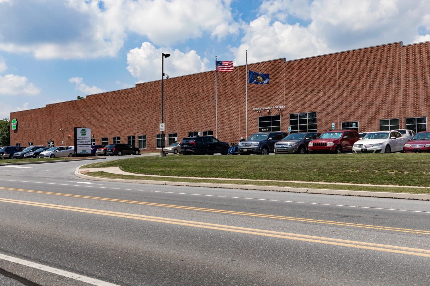 """<a href=""""http://filesource.abacast.com/commonwealthofpa/photo/17276_LOTTERY_Building_NK_009.JPG"""" target=""""_blank"""">⇣Download Photo<br></a>The exterior of the Pennsylvania Lottery Office is pictured in Middletown on July 19, 2019."""
