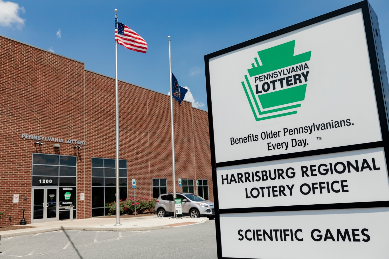 """<a href=""""http://filesource.abacast.com/commonwealthofpa/photo/17276_LOTTERY_Building_NK_014.JPG"""" target=""""_blank"""">⇣Download Photo<br></a>The exterior of the Pennsylvania Lottery Office is pictured in Middletown on July 19, 2019."""