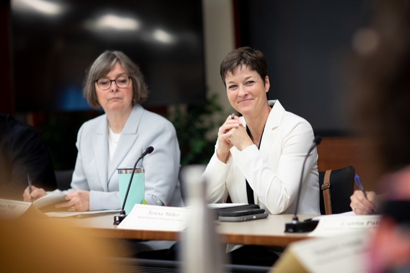"""<a href=""""http://filesource.abacast.com/commonwealthofpa/photo/17380_dhs_first_lady_college_dz_003.jpg"""" target=""""_blank"""">⇣Download Photo<br></a>Harrisburg, PA  Human Services Secretary Teresa Miller listening to community members gathered at the Roundtable.  First Lady Frances Wolf today hosted a roundtable discussion with Education Secretary Pedro Rivera, Human Services Secretary Teresa Miller, higher education professionals, students, and anti-hunger advocates to discuss ways to address hunger and food insecurity on college campuses. Wednesday, September 11 2019"""