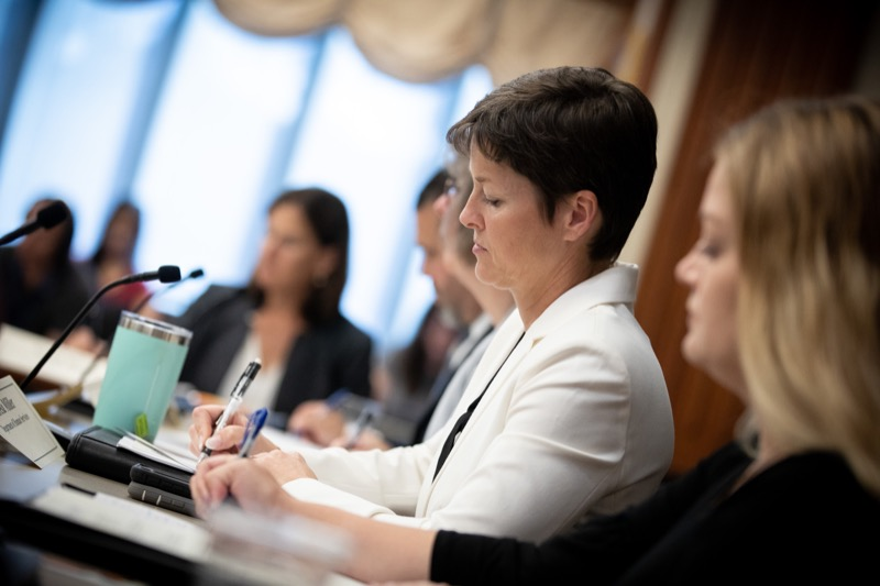 """<a href=""""http://filesource.abacast.com/commonwealthofpa/photo/17380_dhs_first_lady_college_dz_011.jpg"""" target=""""_blank"""">⇣Download Photo<br></a>Harrisburg, PA  Human Services Secretary Teresa Miller taking notes at the  Roundtable. First Lady Frances Wolf today hosted a roundtable discussion with Education Secretary Pedro Rivera, Human Services Secretary Teresa Miller, higher education professionals, students, and anti-hunger advocates to discuss ways to address hunger and food insecurity on college campuses. Wednesday, September 11 2019"""
