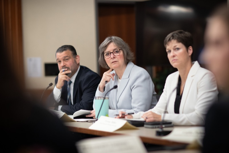 """<a href=""""http://filesource.abacast.com/commonwealthofpa/photo/17380_dhs_first_lady_college_dz_012.jpg"""" target=""""_blank"""">⇣Download Photo<br></a>Harrisburg, PA  First Lady Frances Wolf listening to community members gathered at the Roundtable. First Lady Frances Wolf today hosted a roundtable discussion with Education Secretary Pedro Rivera, Human Services Secretary Teresa Miller, higher education professionals, students, and anti-hunger advocates to discuss ways to address hunger and food insecurity on college campuses. Wednesday, September 11 2019"""