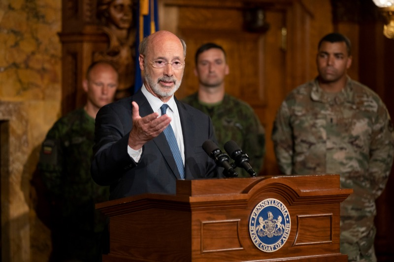 """<a href=""""http://filesource.abacast.com/commonwealthofpa/photo/17406_GOV_Poland_Lithuania_NK_001.JPG"""" target=""""_blank"""">⇣Download Photo<br></a>Governor Tom Wolf outlines his plans for a trip to Lithuania and Poland inside the Governor's Reception Room at the State Capitol building in Harrisburg on Friday, September 6, 2019."""