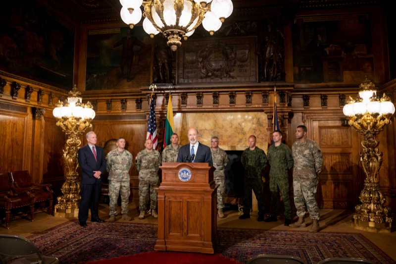"""<a href=""""http://filesource.abacast.com/commonwealthofpa/photo/17406_GOV_Poland_Lithuania_NK_003.JPG"""" target=""""_blank"""">⇣Download Photo<br></a>Governor Tom Wolf outlines his plans for a trip to Lithuania and Poland inside the Governor's Reception Room at the State Capitol building in Harrisburg on Friday, September 6, 2019."""