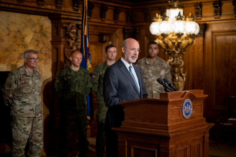 """<a href=""""http://filesource.abacast.com/commonwealthofpa/photo/17406_GOV_Poland_Lithuania_NK_004.JPG"""" target=""""_blank"""">⇣Download Photo<br></a>Governor Tom Wolf outlines his plans for a trip to Lithuania and Poland inside the Governor's Reception Room at the State Capitol building in Harrisburg on Friday, September 6, 2019."""