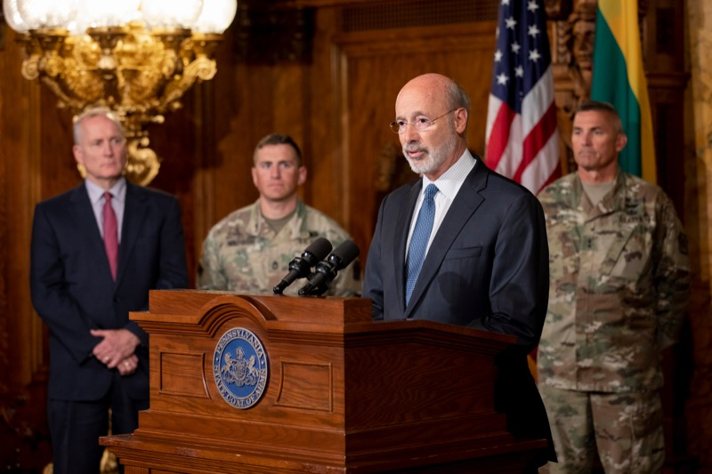 """<a href=""""http://filesource.abacast.com/commonwealthofpa/photo/17406_GOV_Poland_Lithuania_NK_006.JPG"""" target=""""_blank"""">⇣Download Photo<br></a>Governor Tom Wolf outlines his plans for a trip to Lithuania and Poland inside the Governor's Reception Room at the State Capitol building in Harrisburg on Friday, September 6, 2019."""