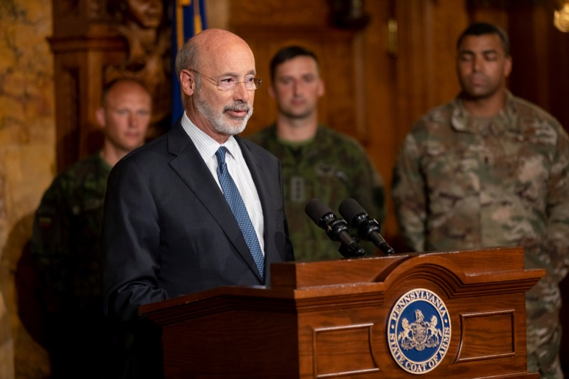 """<a href=""""http://filesource.abacast.com/commonwealthofpa/photo/17406_GOV_Poland_Lithuania_NK_008.JPG"""" target=""""_blank"""">⇣Download Photo<br></a>Governor Tom Wolf outlines his plans for a trip to Lithuania and Poland inside the Governor's Reception Room at the State Capitol building in Harrisburg on Friday, September 6, 2019."""