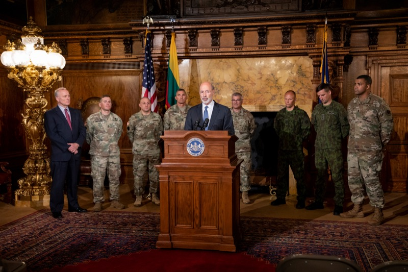 """<a href=""""http://filesource.abacast.com/commonwealthofpa/photo/17406_GOV_Poland_Lithuania_NK_009.JPG"""" target=""""_blank"""">⇣Download Photo<br></a>Governor Tom Wolf outlines his plans for a trip to Lithuania and Poland inside the Governor's Reception Room at the State Capitol building in Harrisburg on Friday, September 6, 2019."""