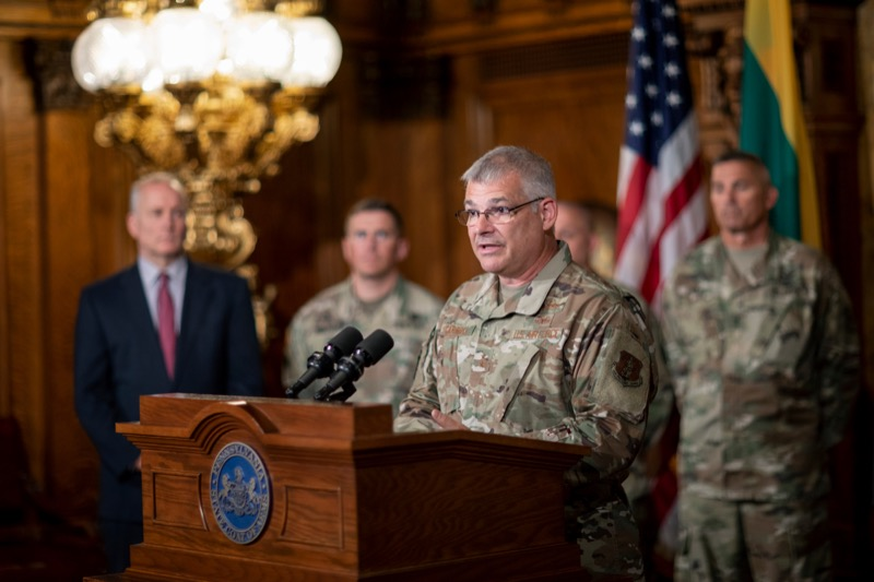 """<a href=""""http://filesource.abacast.com/commonwealthofpa/photo/17406_GOV_Poland_Lithuania_NK_010.JPG"""" target=""""_blank"""">⇣Download Photo<br></a>Major Gen. Anthony J. Carrelli, Pennsylvania's adjutant general and head of the state Department of Military and Veterans Affairs, speaks inside the Governor's Reception Room at the State Capitol building in Harrisburg on Friday, September 6, 2019."""