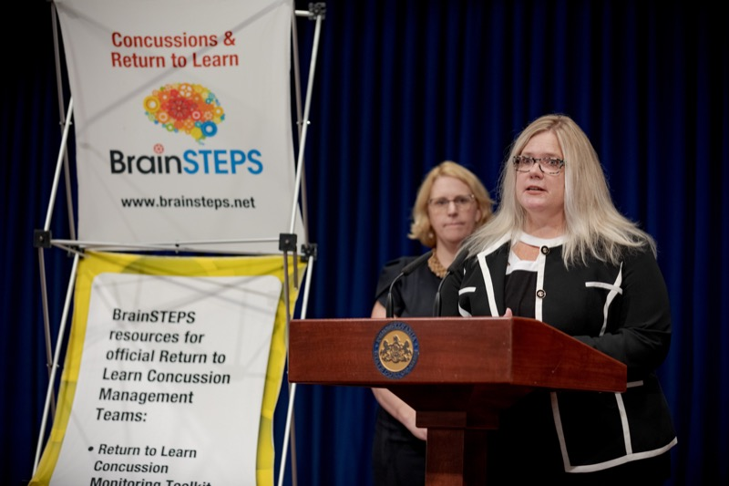 """<a href=""""http://filesource.abacast.com/commonwealthofpa/photo/17411_DOH_Brain_Injuries_NK_005.JPG"""" target=""""_blank"""">⇣Download Photo<br></a>Dr. Brenda Eagan-Johnson, of BrainSTEPS Brain Injury School Consulting Program, speaks during a press conference on traumatic brain injuries inside the Capitol Media Center on Thursday, September 12, 2019."""