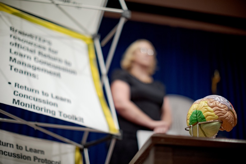"""<a href=""""http://filesource.abacast.com/commonwealthofpa/photo/17411_DOH_Brain_Injuries_NK_006.JPG"""" target=""""_blank"""">⇣Download Photo<br></a>A model brain is pictured during a press conference on traumatic brain injuries inside the Capitol Media Center on Thursday, September 12, 2019."""