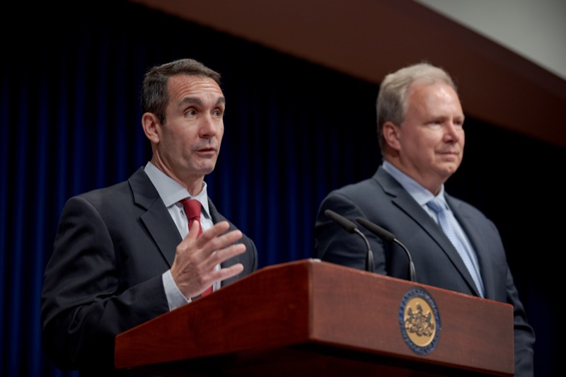 "<a href=""http://filesource.abacast.com/commonwealthofpa/photo/17417_AUD_GEN_Harrisburg_School_District_NK_002.JPG"" target=""_blank"">⇣ Download Photo<br></a>Auditor General Eugene DePasquale, left, and Dr. John George, acting superintendent for Harrisburg School District, speak during a press conference on the continued monitoring of Harrisburg School District's financial recover inside the Capitol Media Center on Friday, September 13, 2019."