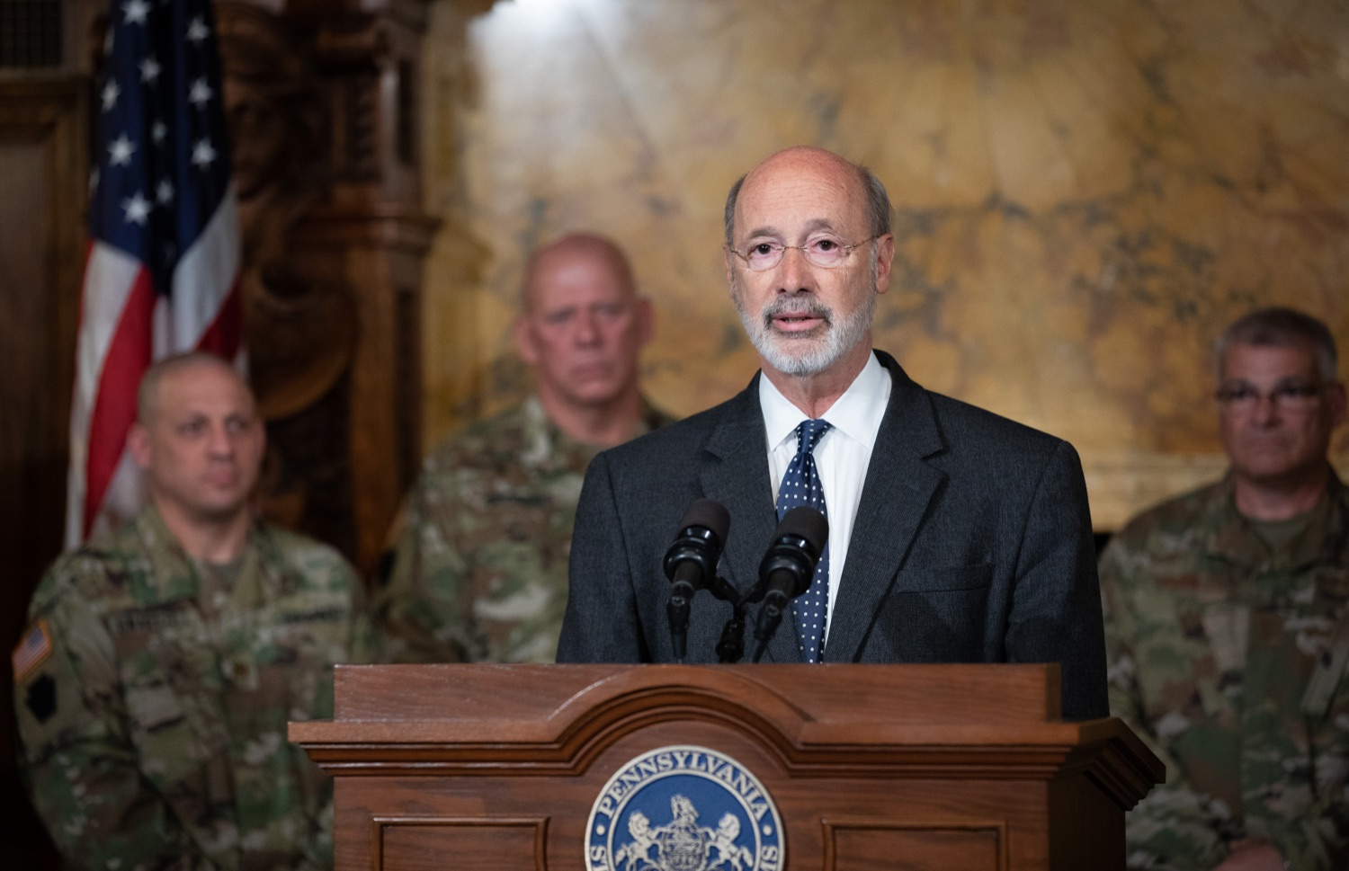 "<a href=""http://filesource.abacast.com/commonwealthofpa/photo/17423_gov_trip_recap_dz_001.jpg"" target=""_blank"">⇣ Download Photo<br></a>Harrisburg, PA  Governor Tom Wolf speaking about his recent visit to Lithuania and Poland.  Governor Tom Wolf today highlighted the second half of his trip abroad, including visiting with more than 500 PA National Guard (PNG) troops in Poland, and honoring the Tree of Life synagogue victims at the Auschwitz-Birkenau Memorial. Tuesday, September 17, 2019"