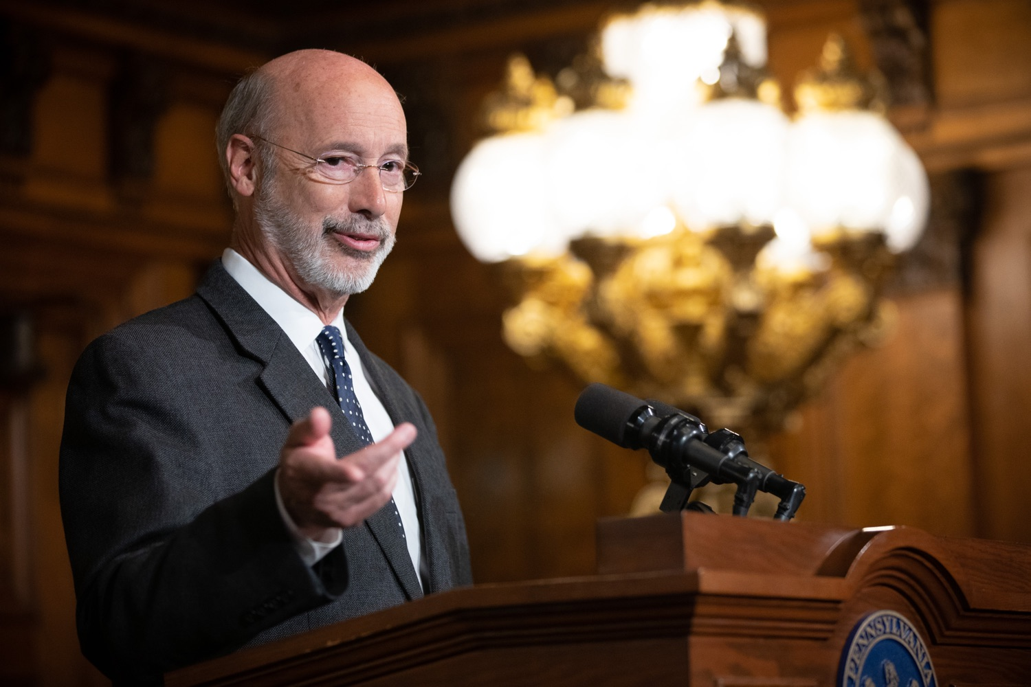 "<a href=""http://filesource.abacast.com/commonwealthofpa/photo/17423_gov_trip_recap_dz_002.jpg"" target=""_blank"">⇣ Download Photo<br></a>Harrisburg, PA  Governor Tom Wolf speaking about his recent visit to Lithuania and Poland.   Governor Tom Wolf today highlighted the second half of his trip abroad, including visiting with more than 500 PA National Guard (PNG) troops in Poland, and honoring the Tree of Life synagogue victims at the Auschwitz-Birkenau Memorial. Tuesday, September 17, 2019"