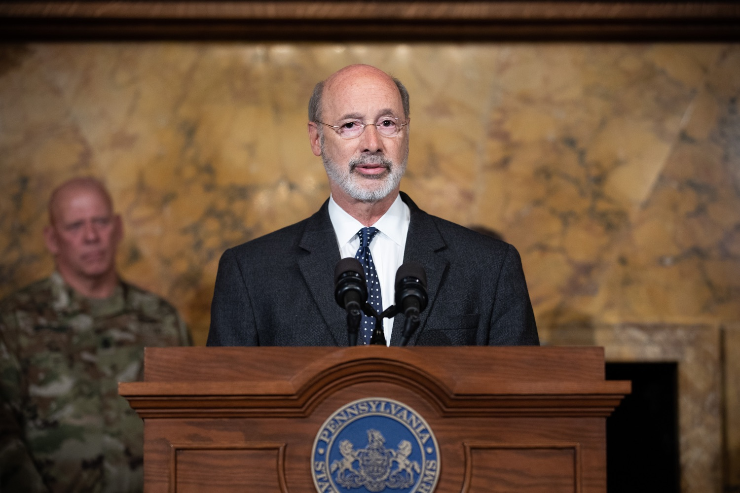 "<a href=""http://filesource.abacast.com/commonwealthofpa/photo/17423_gov_trip_recap_dz_003.jpg"" target=""_blank"">⇣ Download Photo<br></a>Harrisburg, PA  Governor Tom Wolf speaking about his recent visit to Lithuania and Poland.  Governor Tom Wolf today highlighted the second half of his trip abroad, including visiting with more than 500 PA National Guard (PNG) troops in Poland, and honoring the Tree of Life synagogue victims at the Auschwitz-Birkenau Memorial. Tuesday, September 17, 2019"
