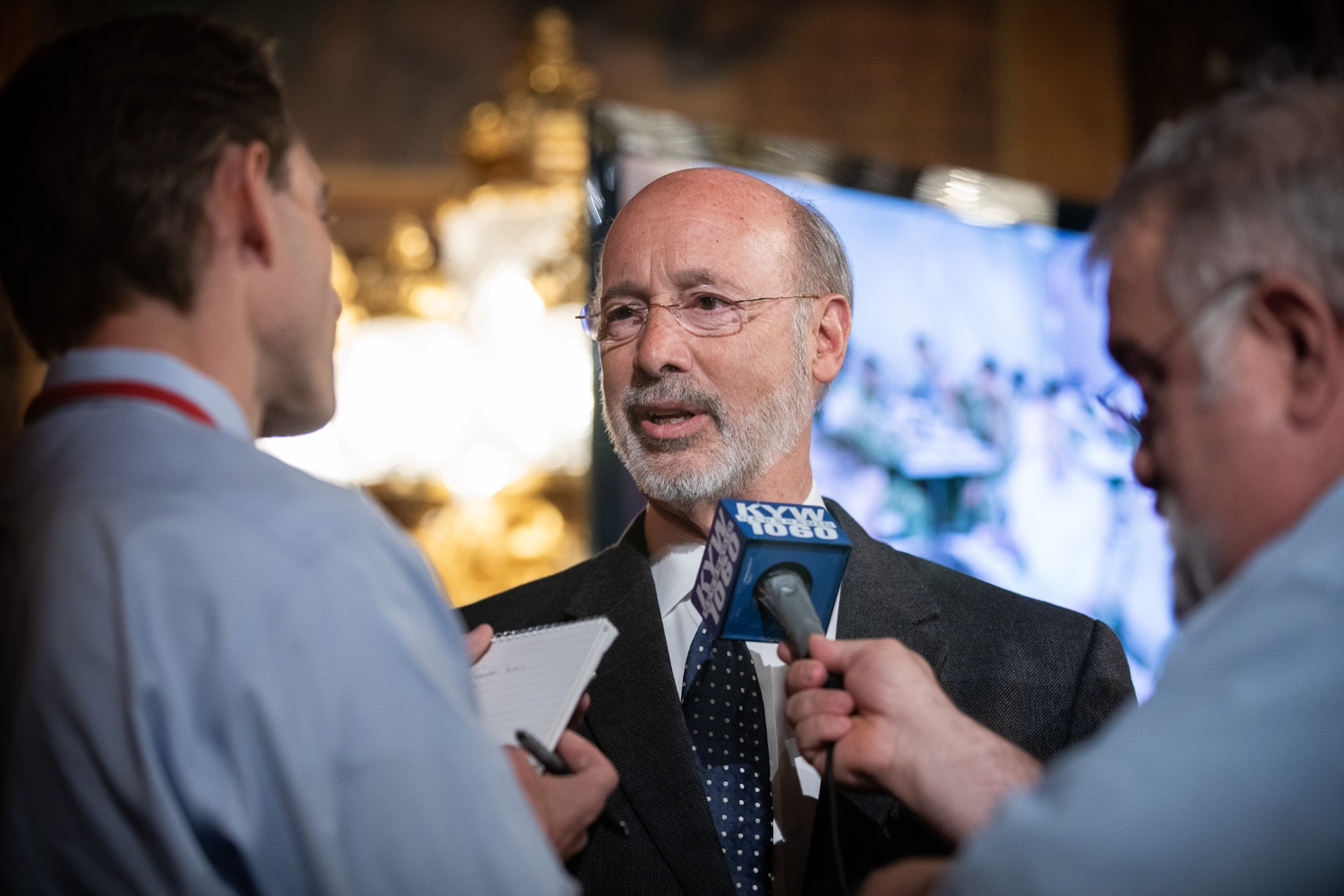 "<a href=""http://filesource.abacast.com/commonwealthofpa/photo/17423_gov_trip_recap_dz_005.jpg"" target=""_blank"">⇣ Download Photo<br></a>Harrisburg, PA  Governor Tom Wolf speaking with the press.  Governor Tom Wolf today highlighted the second half of his trip abroad, including visiting with more than 500 PA National Guard (PNG) troops in Poland, and honoring the Tree of Life synagogue victims at the Auschwitz-Birkenau Memorial. Tuesday, September 17, 2019"