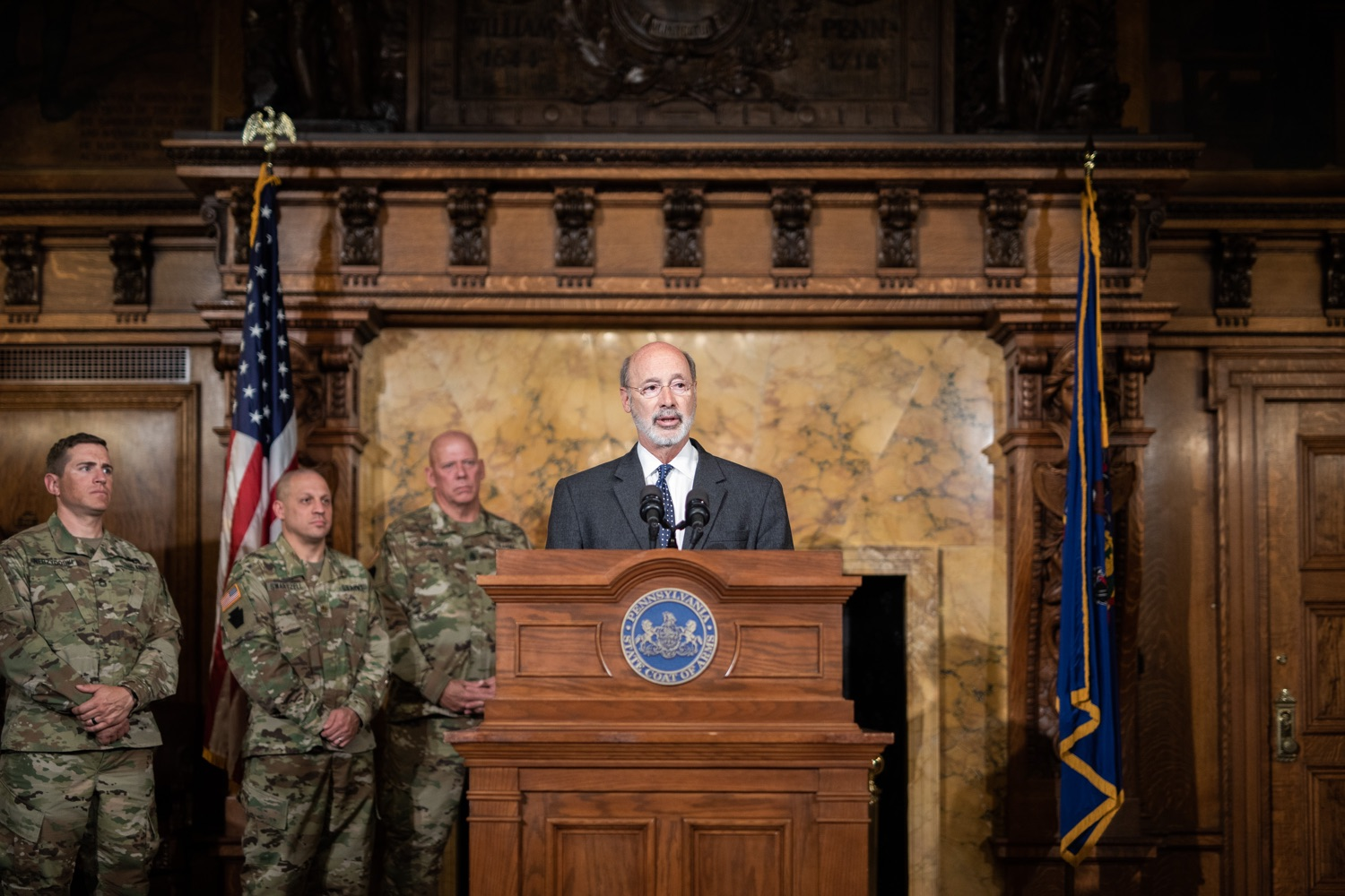 "<a href=""http://filesource.abacast.com/commonwealthofpa/photo/17423_gov_trip_recap_dz_007.jpg"" target=""_blank"">⇣ Download Photo<br></a>Harrisburg, PA  Governor Tom Wolf speaking about his recent visit to Lithuania and Poland.  Governor Tom Wolf today highlighted the second half of his trip abroad, including visiting with more than 500 PA National Guard (PNG) troops in Poland, and honoring the Tree of Life synagogue victims at the Auschwitz-Birkenau Memorial. Tuesday, September 17, 2019"