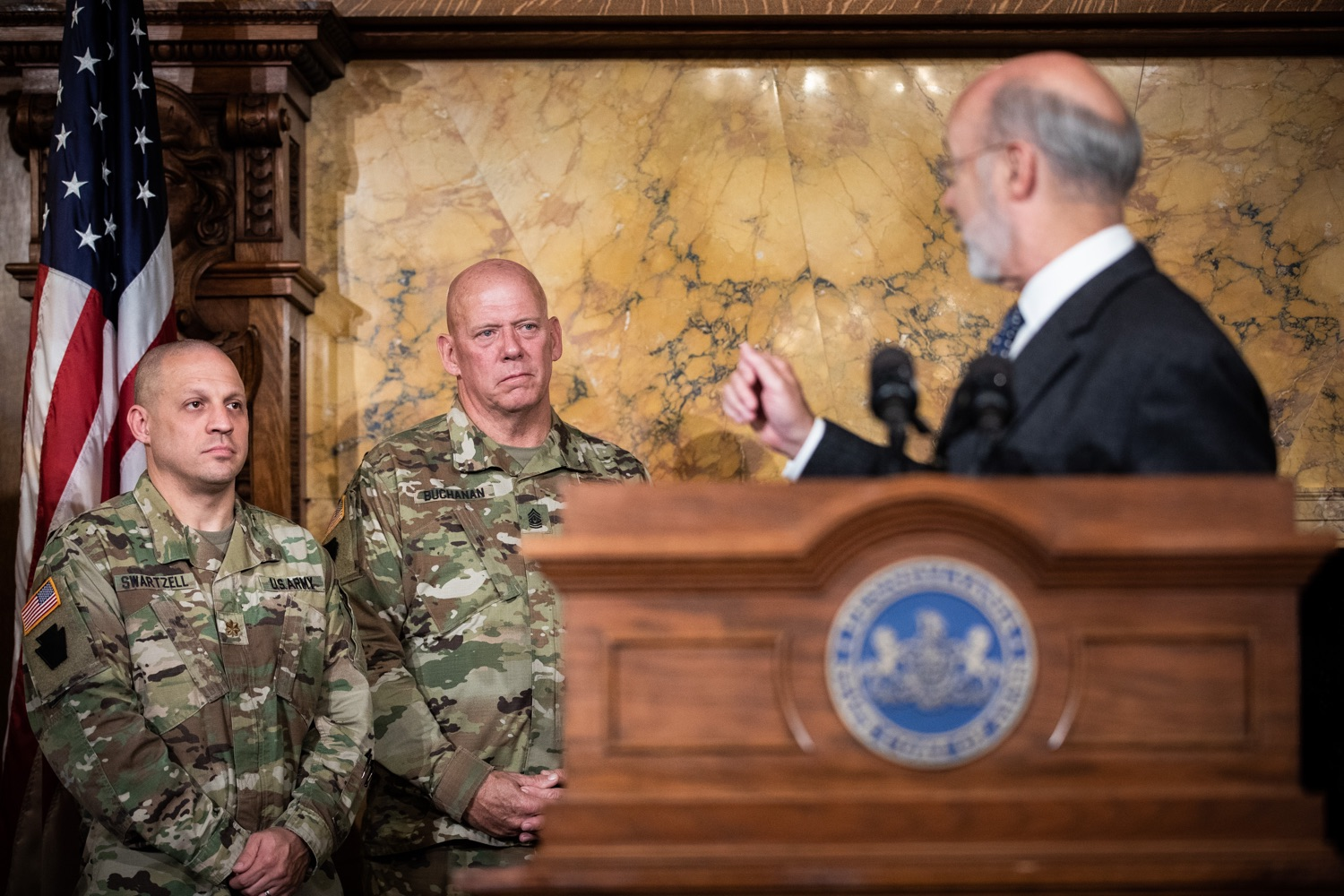 "<a href=""http://filesource.abacast.com/commonwealthofpa/photo/17423_gov_trip_recap_dz_009.jpg"" target=""_blank"">⇣ Download Photo<br></a>Harrisburg, PA  Governor Tom Wolf speaking about his recent visit to Lithuania and Poland.  Governor Tom Wolf today highlighted the second half of his trip abroad, including visiting with more than 500 PA National Guard (PNG) troops in Poland, and honoring the Tree of Life synagogue victims at the Auschwitz-Birkenau Memorial. Tuesday, September 17, 2019"