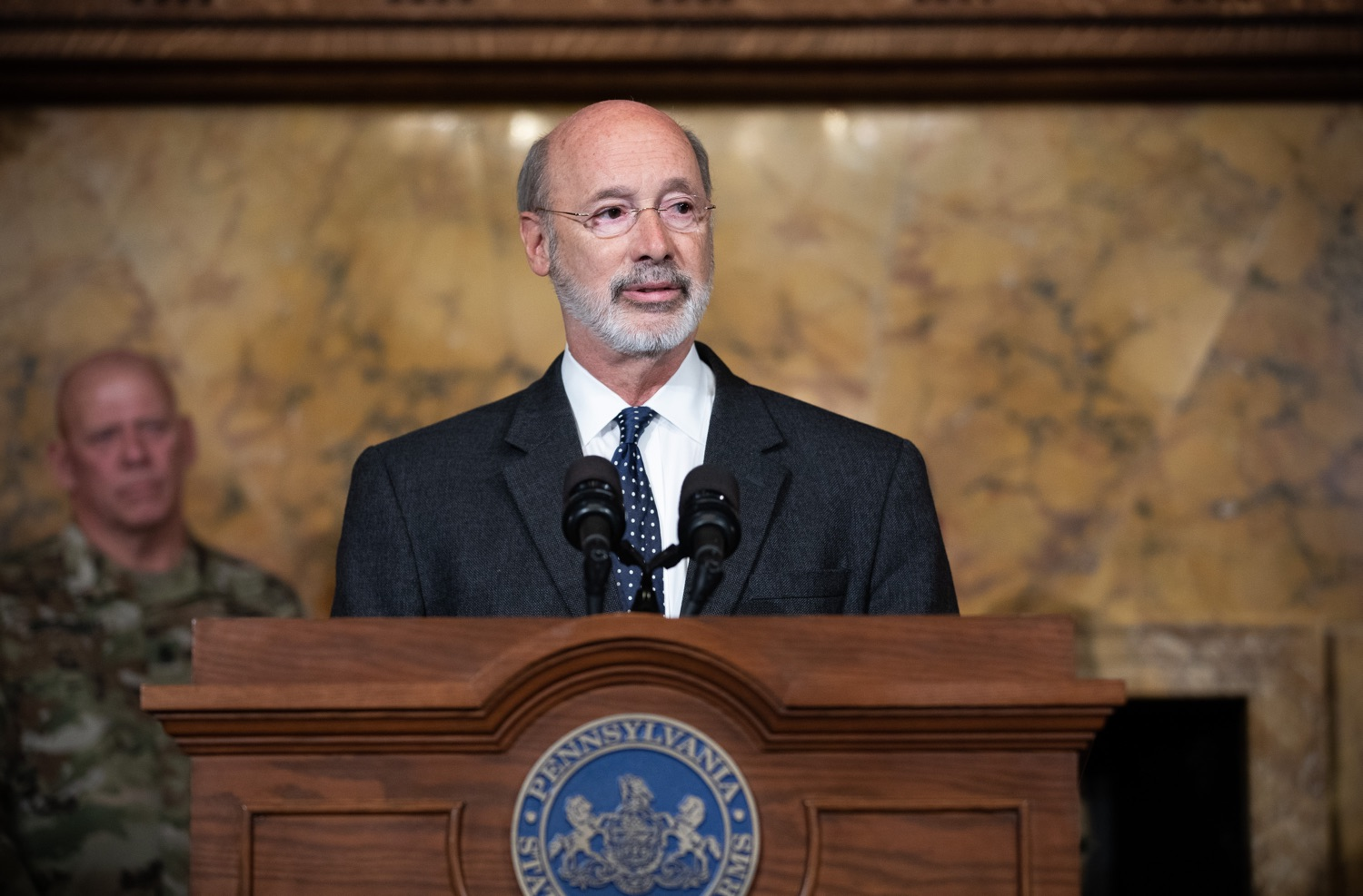 "<a href=""http://filesource.abacast.com/commonwealthofpa/photo/17423_gov_trip_recap_dz_010.jpg"" target=""_blank"">⇣ Download Photo<br></a>Harrisburg, PA  Governor Tom Wolf speaking about his recent visit to Lithuania and Poland.  Governor Tom Wolf today highlighted the second half of his trip abroad, including visiting with more than 500 PA National Guard (PNG) troops in Poland, and honoring the Tree of Life synagogue victims at the Auschwitz-Birkenau Memorial. Tuesday, September 17, 2019"