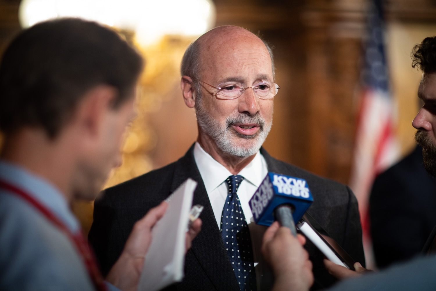 "<a href=""http://filesource.abacast.com/commonwealthofpa/photo/17423_gov_trip_recap_dz_011.jpg"" target=""_blank"">⇣ Download Photo<br></a>Harrisburg, PA  Governor Tom Wolf speaking with the press.   Governor Tom Wolf today highlighted the second half of his trip abroad, including visiting with more than 500 PA National Guard (PNG) troops in Poland, and honoring the Tree of Life synagogue victims at the Auschwitz-Birkenau Memorial. Tuesday, September 17, 2019"