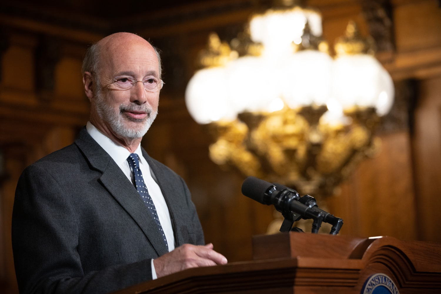 "<a href=""http://filesource.abacast.com/commonwealthofpa/photo/17423_gov_trip_recap_dz_012.jpg"" target=""_blank"">⇣ Download Photo<br></a>Harrisburg, PA  Governor Tom Wolf speaking about his recent visit to Lithuania and Poland.   Governor Tom Wolf today highlighted the second half of his trip abroad, including visiting with more than 500 PA National Guard (PNG) troops in Poland, and honoring the Tree of Life synagogue victims at the Auschwitz-Birkenau Memorial. Tuesday, September 17, 2019"