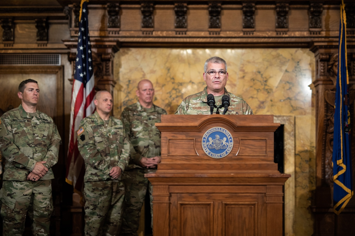 "<a href=""http://filesource.abacast.com/commonwealthofpa/photo/17423_gov_trip_recap_dz_014.jpg"" target=""_blank"">⇣ Download Photo<br></a>Harrisburg, PA  Adjutant General Maj. General Tony Carrelli about his recent visit to Lithuania and Poland. Governor Tom Wolf today highlighted the second half of his trip abroad, including visiting with more than 500 PA National Guard (PNG) troops in Poland, and honoring the Tree of Life synagogue victims at the Auschwitz-Birkenau Memorial. Tuesday, September 17, 2019"