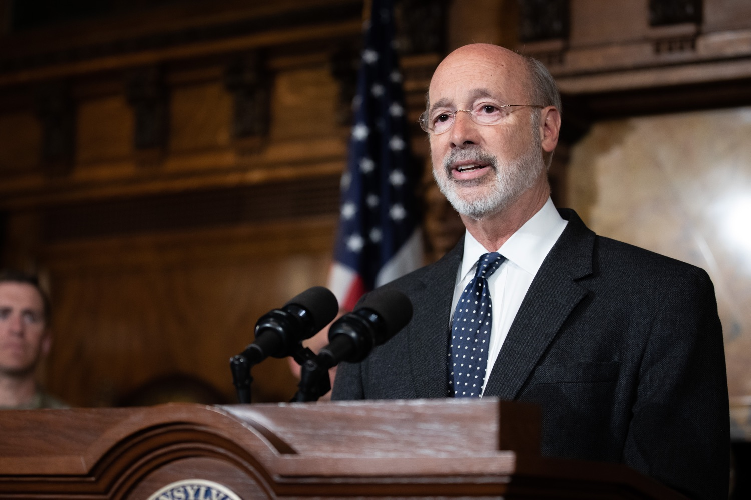 "<a href=""http://filesource.abacast.com/commonwealthofpa/photo/17423_gov_trip_recap_dz_015.jpg"" target=""_blank"">⇣ Download Photo<br></a>Harrisburg, PA  Governor Tom Wolf speaking about his recent visit to Lithuania and Poland.  Governor Tom Wolf today highlighted the second half of his trip abroad, including visiting with more than 500 PA National Guard (PNG) troops in Poland, and honoring the Tree of Life synagogue victims at the Auschwitz-Birkenau Memorial. Tuesday, September 17, 2019"
