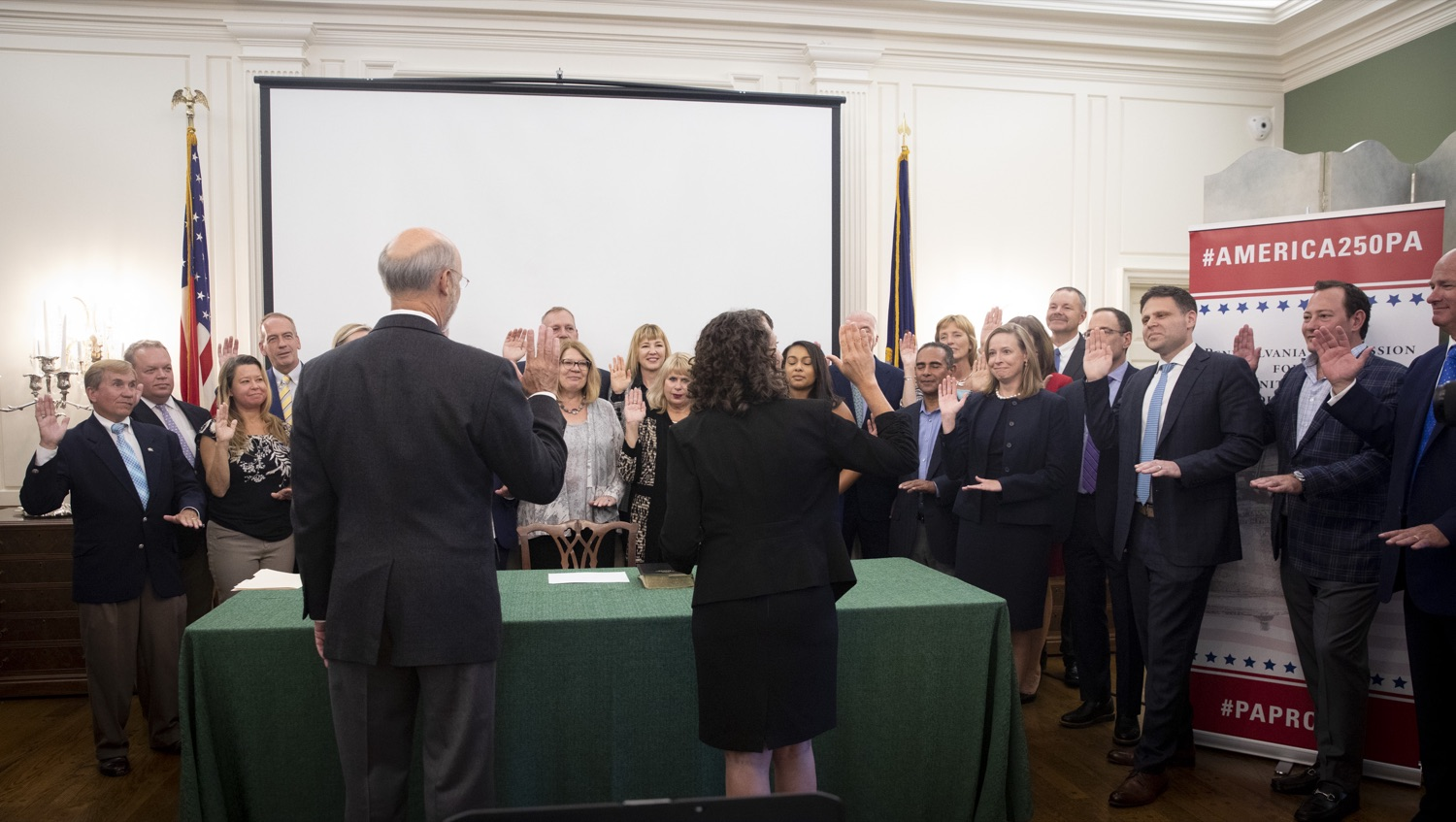 """<a href=""""http://filesource.abacast.com/commonwealthofpa/photo/17424_GOV_AMERICA250_CZ_07.JPG"""" target=""""_blank"""">⇣Download Photo<br></a>Pennsylvania officially recognized the members of the America250PA commission at a swearing-in ceremony held at the Governors Residence on September 17, 2019."""