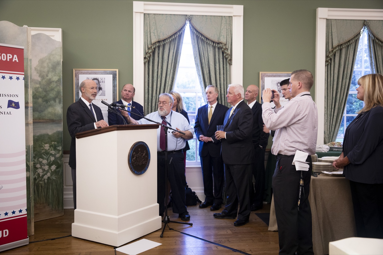 """<a href=""""http://filesource.abacast.com/commonwealthofpa/photo/17424_GOV_AMERICA250_CZ_09.JPG"""" target=""""_blank"""">⇣Download Photo<br></a>Pennsylvania officially recognized the members of the America250PA commission at a swearing-in ceremony held at the Governors Residence on September 17, 2019."""