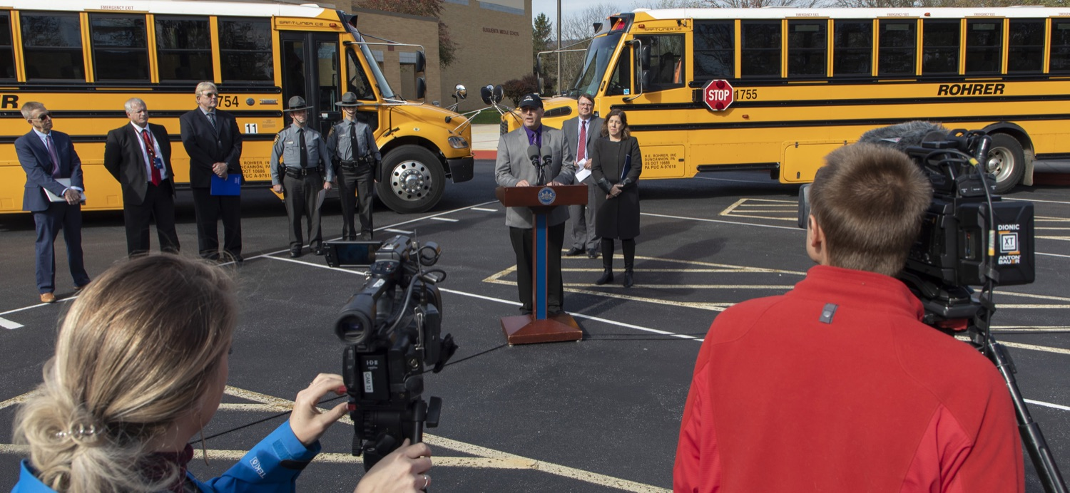 """<a href=""""http://filesource.abacast.com/commonwealthofpa/photo/17458_pdot_safeStop_0002a.jpg"""" target=""""_blank"""">⇣Download Photo<br></a>Wolf Administration Stresses School Bus Safety, Announces Results of Enforcement Initiative"""
