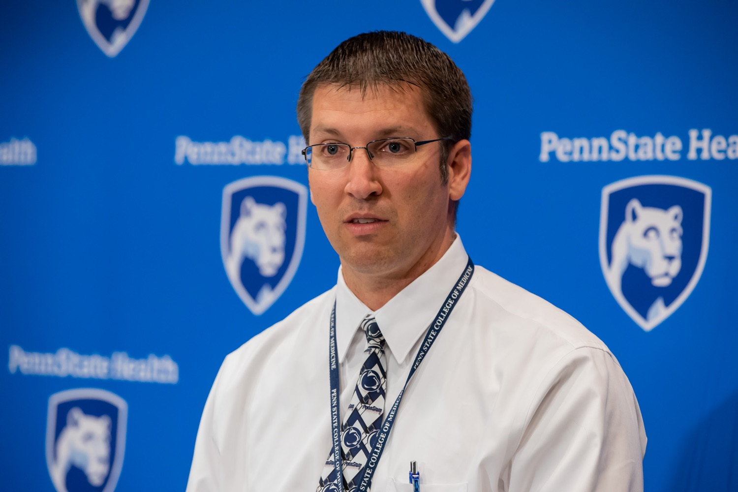 "<a href=""http://filesource.abacast.com/commonwealthofpa/photo/17471_DOH_FluSeason_AG_13.jpg"" target=""_blank"">⇣ Download Photo<br></a>Harrisburg, PA.  Dr. Todd Felix, family medicine physician at Penn State Health, speaks at today's event at the Penn State Health Milton S. Hershey Medical Center. The Department of Health reminded residents that it is time to get their flu vaccine, as flu season officially starts this month and runs until May. Residents are also encouraged to get their flu vaccine before the end of October.  October 8, 2019."