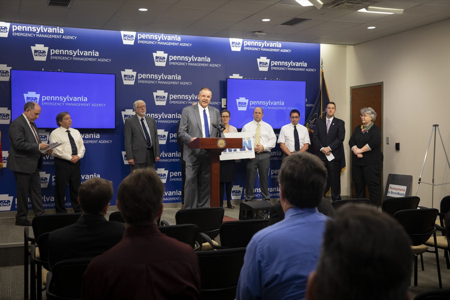 "<a href=""http://filesource.abacast.com/commonwealthofpa/photo/17500_pema_StormReady_cz_09.JPG"" target=""_blank"">⇣ Download Photo<br></a>PEMA Director Randy Padfield announces that Pennsylvania is one of only six states in the nation to achieve StoryReady status, in Harrisburg on November 20, 2019."