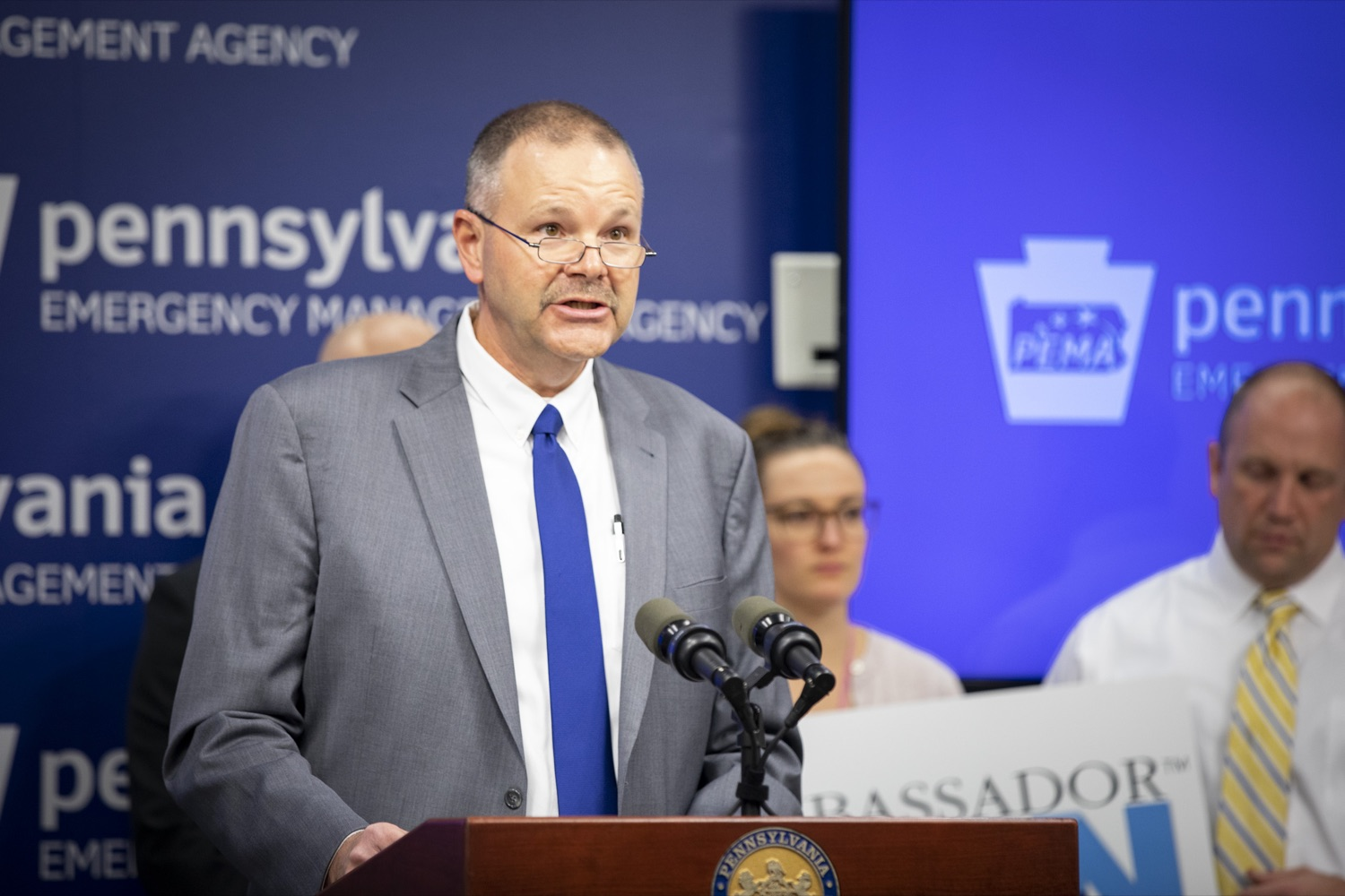 "<a href=""http://filesource.abacast.com/commonwealthofpa/photo/17500_pema_StormReady_cz_14.JPG"" target=""_blank"">⇣ Download Photo<br></a>PEMA Director Randy Padfield announces that Pennsylvania is one of only six states in the nation to achieve StoryReady status, in Harrisburg on November 20, 2019."