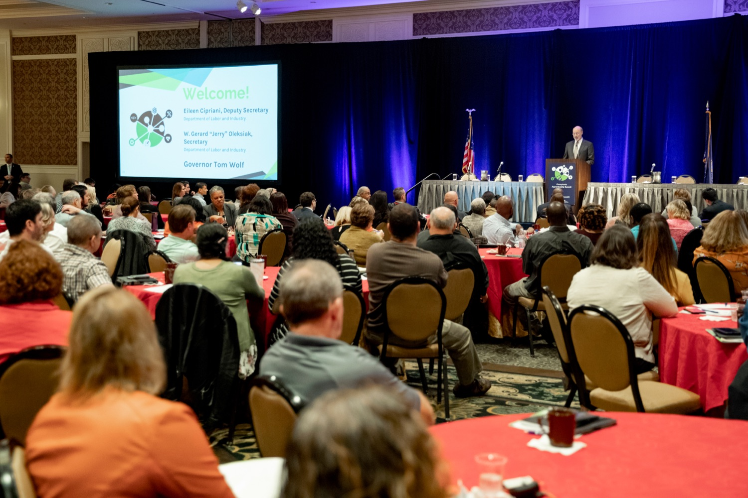 """<a href=""""http://filesource.abacast.com/commonwealthofpa/photo/17520_LandI_Apprenticeships_NK_009.JPG"""" target=""""_blank"""">⇣Download Photo<br></a>Pennsylvania Governor Tom Wolf speaks during the 2019 Pennsylvania Apprenticeship Summit at Hershey Lodge on Thursday, October 31, 2019."""