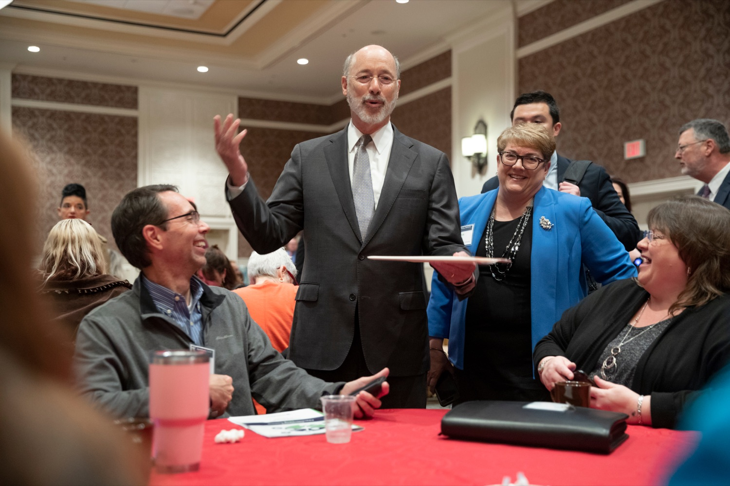 """<a href=""""http://filesource.abacast.com/commonwealthofpa/photo/17520_LandI_Apprenticeships_NK_012.JPG"""" target=""""_blank"""">⇣Download Photo<br></a>Pennsylvania Governor Tom Wolf talks with people during the 2019 Pennsylvania Apprenticeship Summit at Hershey Lodge on Thursday, October 31, 2019."""