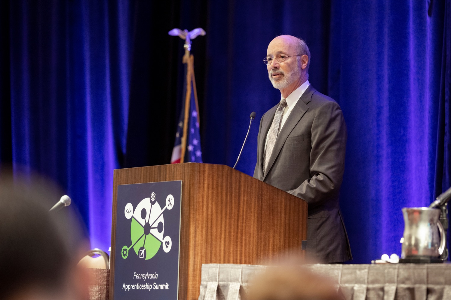 """<a href=""""http://filesource.abacast.com/commonwealthofpa/photo/17520_LandI_Apprenticeships_NK_013.JPG"""" target=""""_blank"""">⇣Download Photo<br></a>Pennsylvania Governor Tom Wolf speaks during the 2019 Pennsylvania Apprenticeship Summit at Hershey Lodge on Thursday, October 31, 2019."""