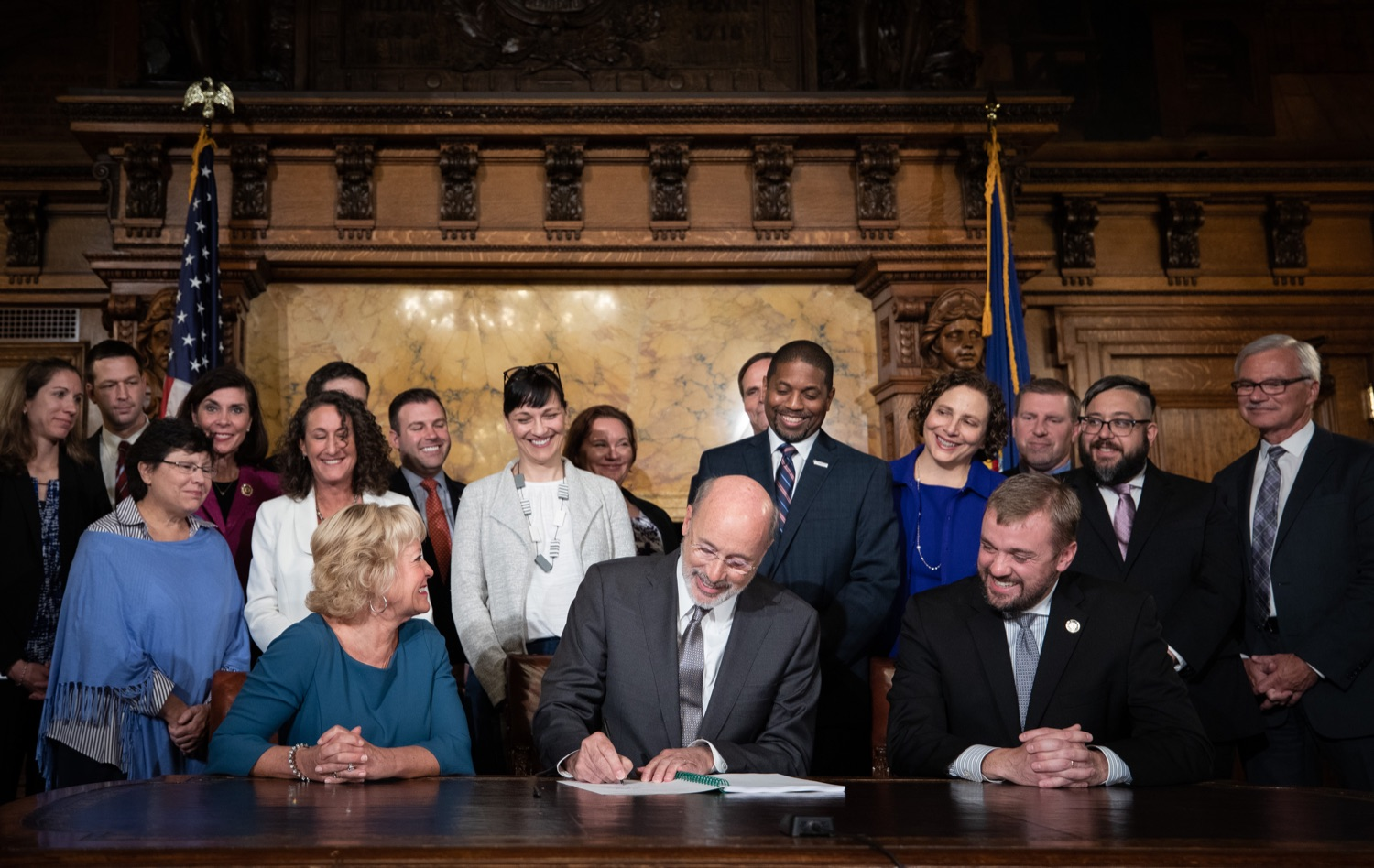 "<a href=""http://filesource.abacast.com/commonwealthofpa/photo/17554_gov_voter_reform_bill_dz_001.jpg"" target=""_blank"">⇣ Download Photo<br></a>Harrisburg, PA  Governor Tom Wolf signs the Election Reform Bill. Governor Wolf made voting more convenient and secure by signing Act 77 of 2019, the most significant improvement to Pennsylvanias elections in more than 80 years. The bipartisan compromise legislation takes effect for the April 2020 primary election and makes Pennsylvania a national leader with voter-friendly election reforms."