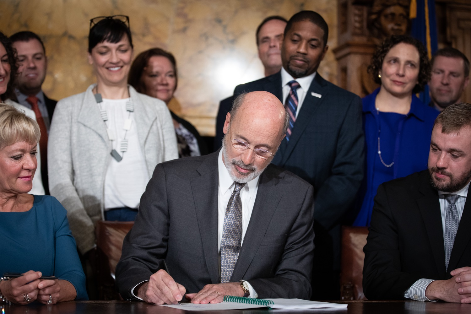 "<a href=""http://filesource.abacast.com/commonwealthofpa/photo/17554_gov_voter_reform_bill_dz_004.jpg"" target=""_blank"">⇣ Download Photo<br></a>Harrisburg, PA  Governor Tom Wolf signs the Election Reform Bill. Governor Wolf made voting more convenient and secure by signing Act 77 of 2019, the most significant improvement to Pennsylvanias elections in more than 80 years. The bipartisan compromise legislation takes effect for the April 2020 primary election and makes Pennsylvania a national leader with voter-friendly election reforms."
