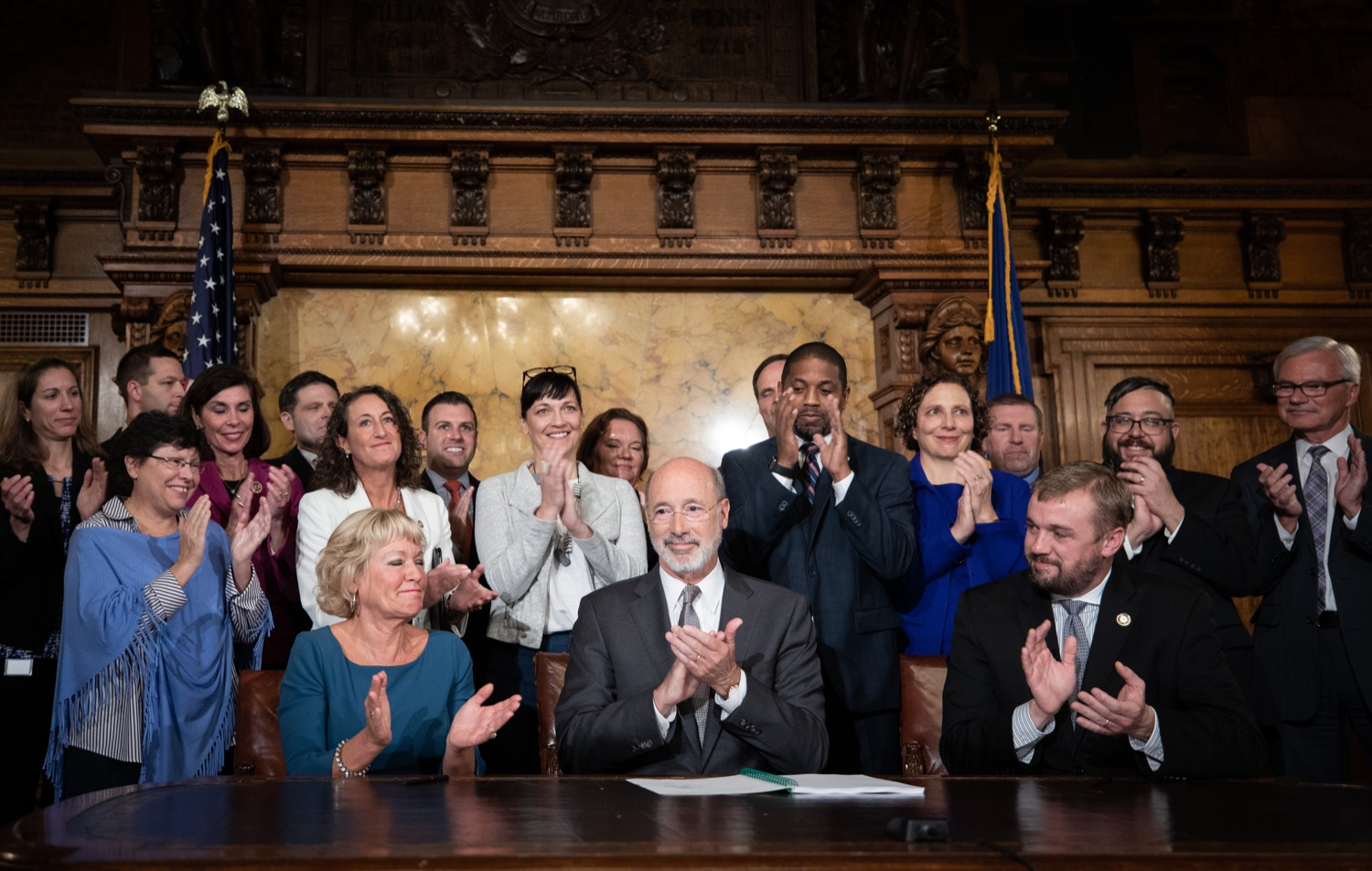 "<a href=""http://filesource.abacast.com/commonwealthofpa/photo/17554_gov_voter_reform_bill_dz_008.jpg"" target=""_blank"">⇣ Download Photo<br></a>Harrisburg, PA  Governor Tom Wolf signs the Election Reform Bill. Governor Wolf made voting more convenient and secure by signing Act 77 of 2019, the most significant improvement to Pennsylvanias elections in more than 80 years. The bipartisan compromise legislation takes effect for the April 2020 primary election and makes Pennsylvania a national leader with voter-friendly election reforms."