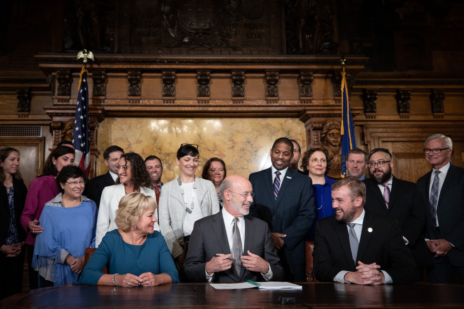 "<a href=""http://filesource.abacast.com/commonwealthofpa/photo/17554_gov_voter_reform_bill_dz_012.jpg"" target=""_blank"">⇣ Download Photo<br></a>Harrisburg, PA  Governor Tom Wolf signs the Election Reform Bill. Governor Wolf made voting more convenient and secure by signing Act 77 of 2019, the most significant improvement to Pennsylvanias elections in more than 80 years. The bipartisan compromise legislation takes effect for the April 2020 primary election and makes Pennsylvania a national leader with voter-friendly election reforms."