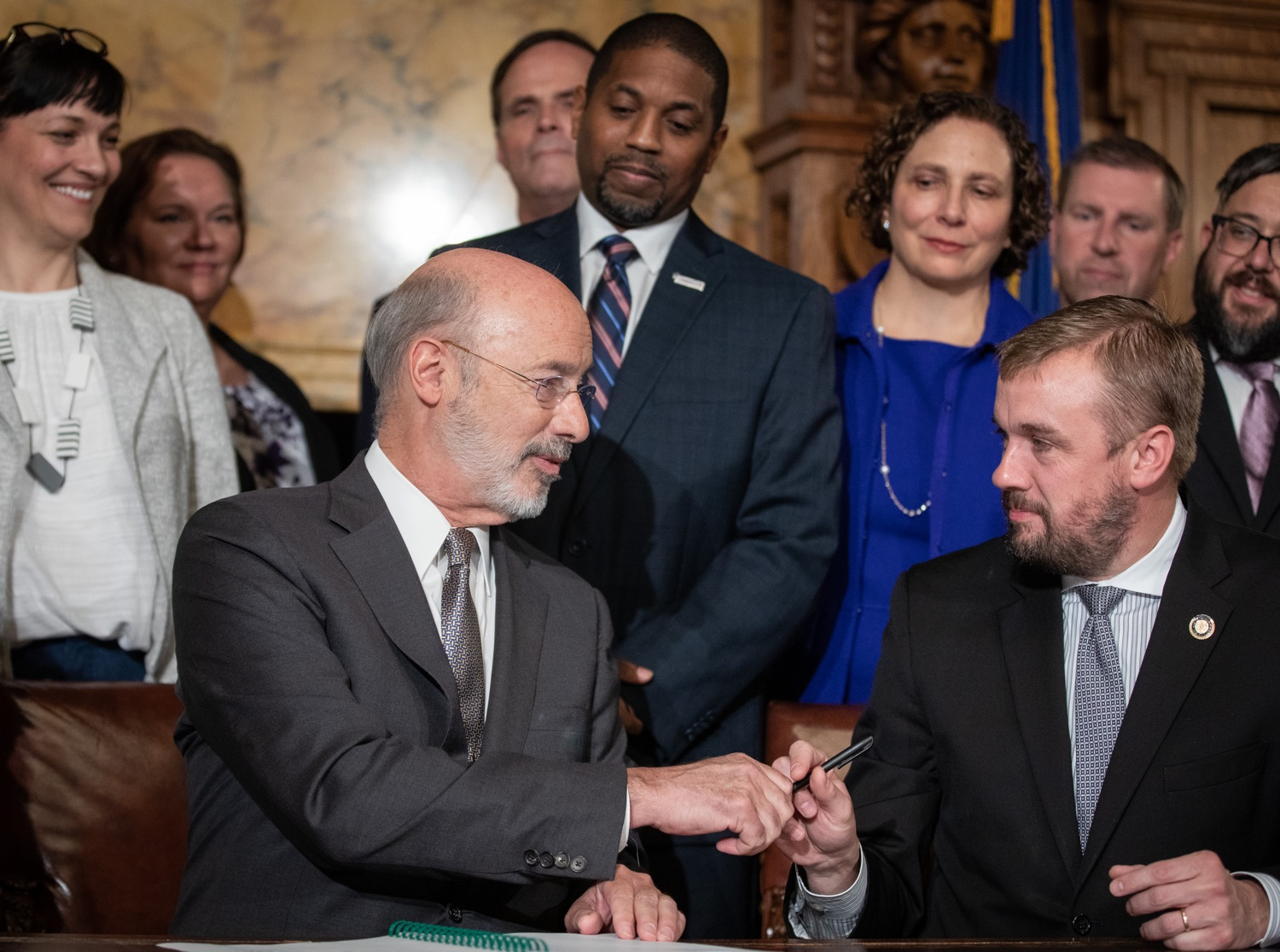 "<a href=""http://filesource.abacast.com/commonwealthofpa/photo/17554_gov_voter_reform_bill_dz_013.jpg"" target=""_blank"">⇣ Download Photo<br></a>Harrisburg, PA  Governor Tom Wolf signs the Election Reform Bill. Governor Wolf made voting more convenient and secure by signing Act 77 of 2019, the most significant improvement to Pennsylvanias elections in more than 80 years. The bipartisan compromise legislation takes effect for the April 2020 primary election and makes Pennsylvania a national leader with voter-friendly election reforms."