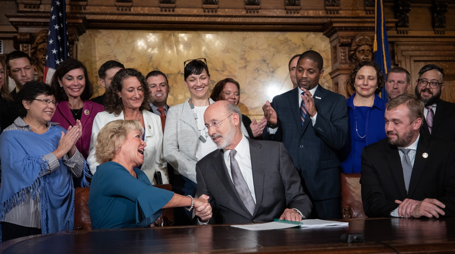 "<a href=""http://filesource.abacast.com/commonwealthofpa/photo/17554_gov_voter_reform_bill_dz_018.jpg"" target=""_blank"">⇣ Download Photo<br></a>Harrisburg, PA  Governor Tom Wolf signs the Election Reform Bill. Governor Wolf made voting more convenient and secure by signing Act 77 of 2019, the most significant improvement to Pennsylvanias elections in more than 80 years. The bipartisan compromise legislation takes effect for the April 2020 primary election and makes Pennsylvania a national leader with voter-friendly election reforms."
