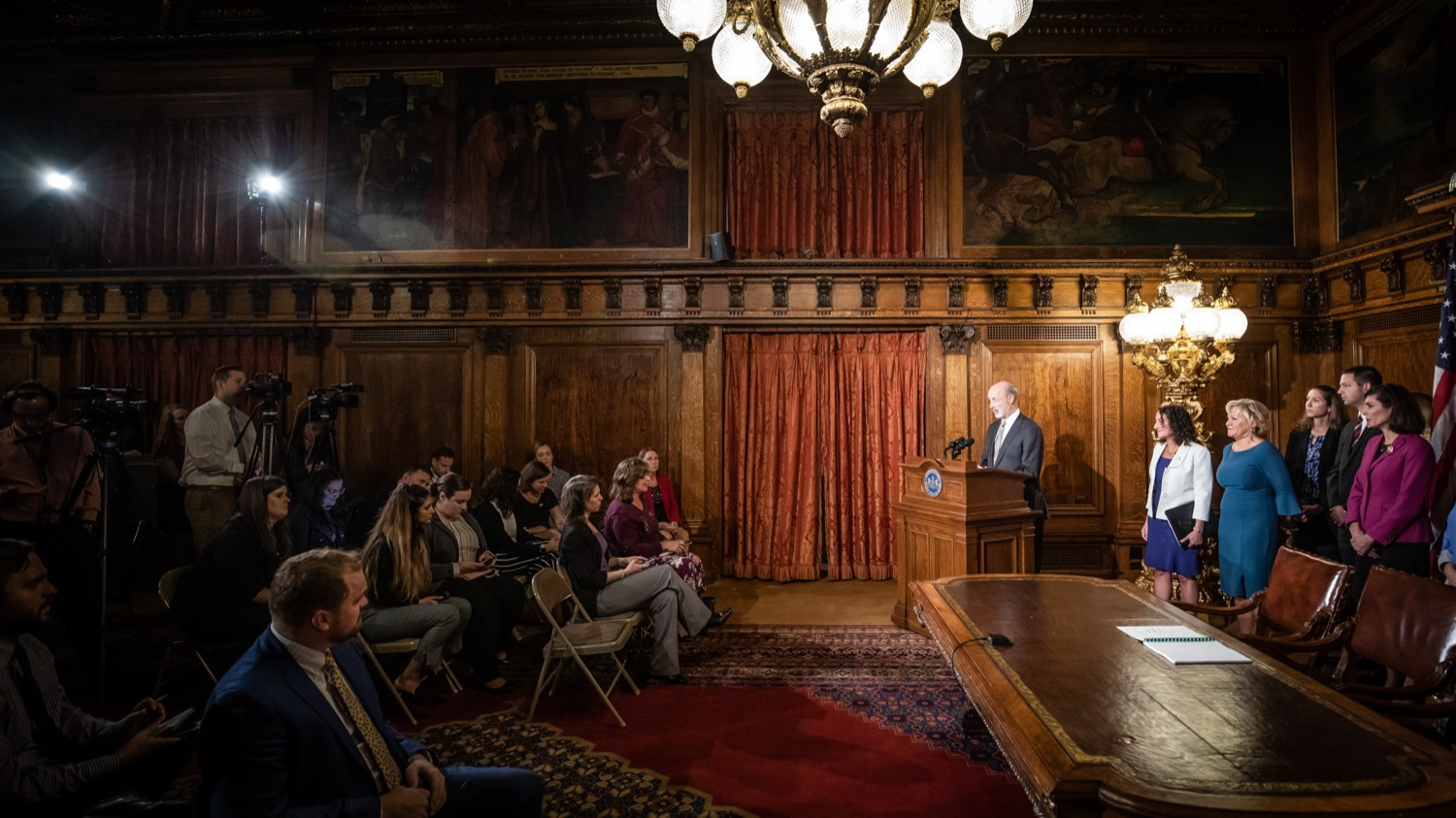 "<a href=""http://filesource.abacast.com/commonwealthofpa/photo/17554_gov_voter_reform_bill_dz_019.jpg"" target=""_blank"">⇣ Download Photo<br></a>Harrisburg, PA  Governor Tom Wolf speaks at the Election Reform Bill signing.  Governor Wolf made voting more convenient and secure by signing Act 77 of 2019, the most significant improvement to Pennsylvanias elections in more than 80 years. The bipartisan compromise legislation takes effect for the April 2020 primary election and makes Pennsylvania a national leader with voter-friendly election reforms."