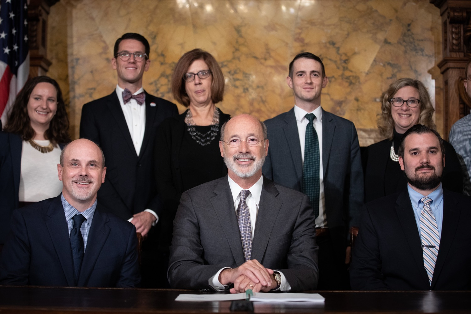 "<a href=""http://filesource.abacast.com/commonwealthofpa/photo/17554_gov_voter_reform_bill_dz_020.jpg"" target=""_blank"">⇣ Download Photo<br></a>Harrisburg, PA  Governor Tom Wolf posing with attendees after the bill signing. Governor Wolf made voting more convenient and secure by signing Act 77 of 2019, the most significant improvement to Pennsylvanias elections in more than 80 years. The bipartisan compromise legislation takes effect for the April 2020 primary election and makes Pennsylvania a national leader with voter-friendly election reforms."