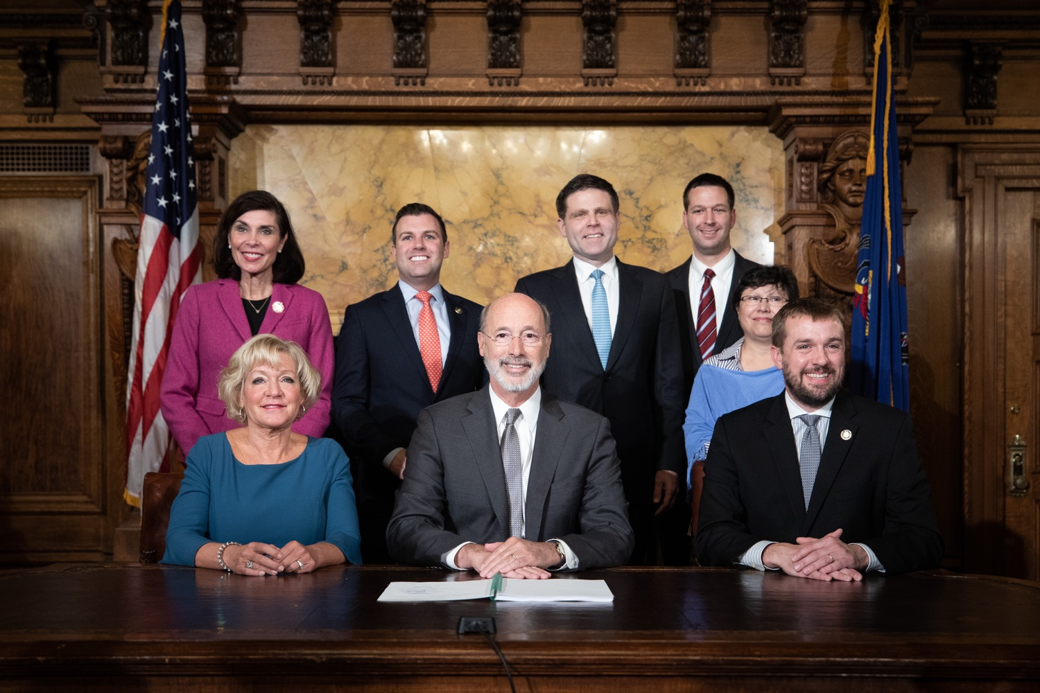 "<a href=""http://filesource.abacast.com/commonwealthofpa/photo/17554_gov_voter_reform_bill_dz_021.jpg"" target=""_blank"">⇣ Download Photo<br></a>Harrisburg, PA  Governor Tom Wolf posing with attendees after the bill signing. Governor Wolf made voting more convenient and secure by signing Act 77 of 2019, the most significant improvement to Pennsylvanias elections in more than 80 years. The bipartisan compromise legislation takes effect for the April 2020 primary election and makes Pennsylvania a national leader with voter-friendly election reforms."