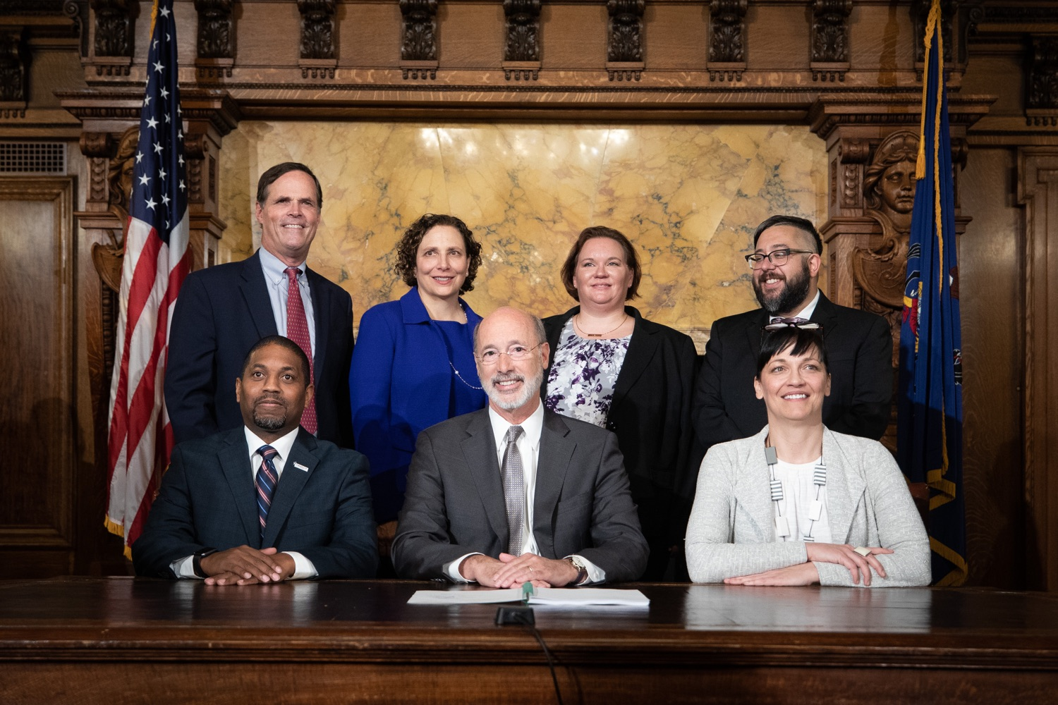 "<a href=""http://filesource.abacast.com/commonwealthofpa/photo/17554_gov_voter_reform_bill_dz_022.jpg"" target=""_blank"">⇣ Download Photo<br></a>Harrisburg, PA  Governor Tom Wolf posing with attendees after the bill signing. Governor Wolf made voting more convenient and secure by signing Act 77 of 2019, the most significant improvement to Pennsylvanias elections in more than 80 years. The bipartisan compromise legislation takes effect for the April 2020 primary election and makes Pennsylvania a national leader with voter-friendly election reforms."