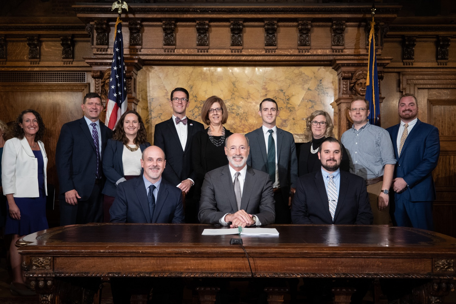 "<a href=""http://filesource.abacast.com/commonwealthofpa/photo/17554_gov_voter_reform_bill_dz_023.jpg"" target=""_blank"">⇣ Download Photo<br></a>Harrisburg, PA  Governor Tom Wolf posing with attendees after the bill signing. Governor Wolf made voting more convenient and secure by signing Act 77 of 2019, the most significant improvement to Pennsylvanias elections in more than 80 years. The bipartisan compromise legislation takes effect for the April 2020 primary election and makes Pennsylvania a national leader with voter-friendly election reforms."