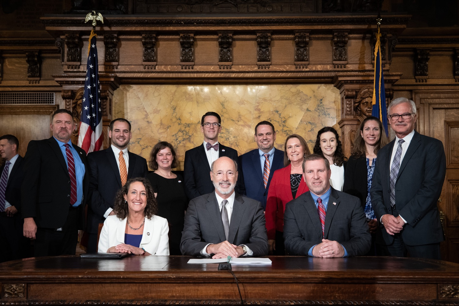 "<a href=""http://filesource.abacast.com/commonwealthofpa/photo/17554_gov_voter_reform_bill_dz_024.jpg"" target=""_blank"">⇣ Download Photo<br></a>Harrisburg, PA  Governor Tom Wolf posing with attendees after the bill signing. Governor Wolf made voting more convenient and secure by signing Act 77 of 2019, the most significant improvement to Pennsylvanias elections in more than 80 years. The bipartisan compromise legislation takes effect for the April 2020 primary election and makes Pennsylvania a national leader with voter-friendly election reforms."