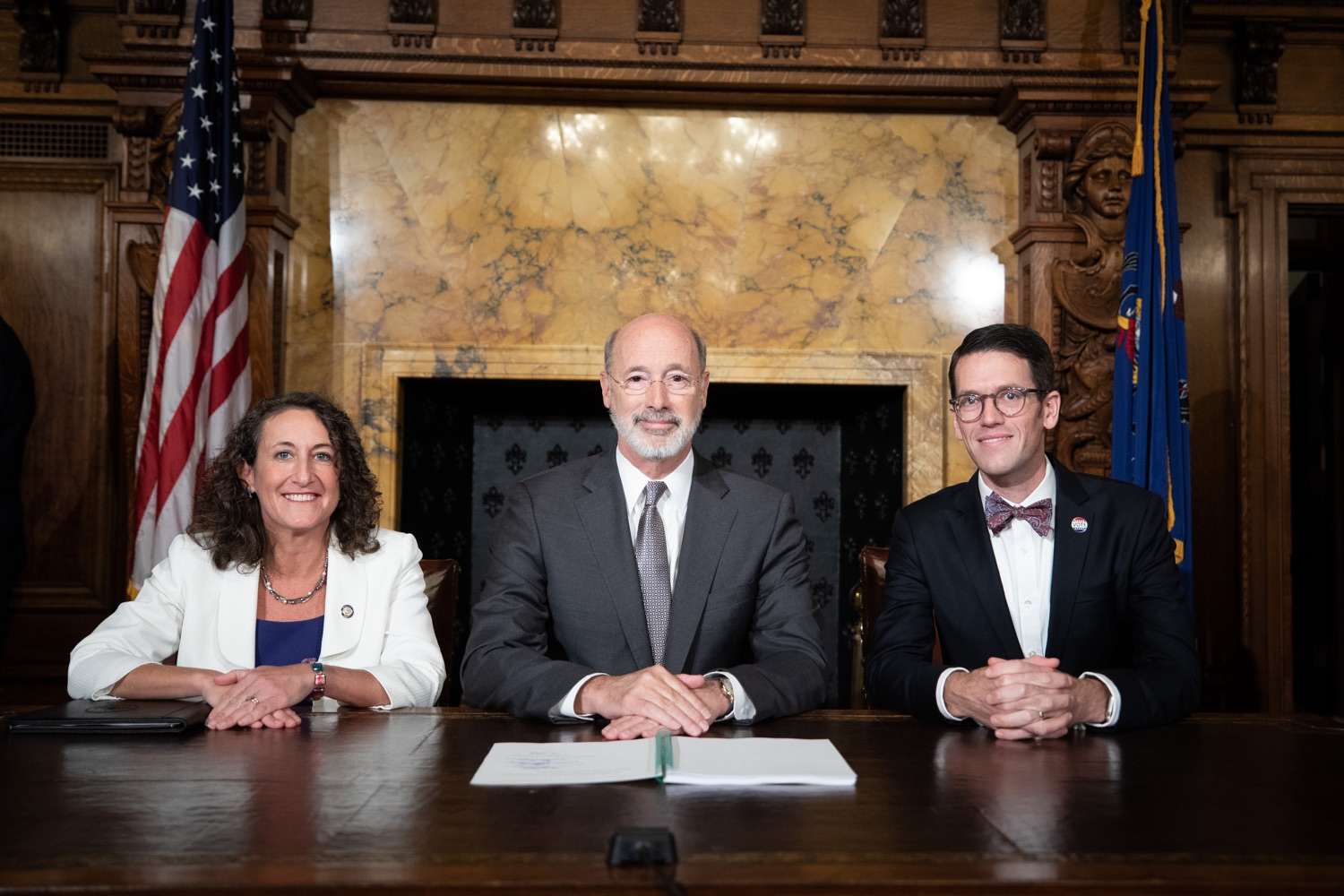 "<a href=""http://filesource.abacast.com/commonwealthofpa/photo/17554_gov_voter_reform_bill_dz_025.jpg"" target=""_blank"">⇣ Download Photo<br></a>Harrisburg, PA  Governor Tom Wolf posing with attendees after the bill signing. Governor Wolf made voting more convenient and secure by signing Act 77 of 2019, the most significant improvement to Pennsylvanias elections in more than 80 years. The bipartisan compromise legislation takes effect for the April 2020 primary election and makes Pennsylvania a national leader with voter-friendly election reforms."